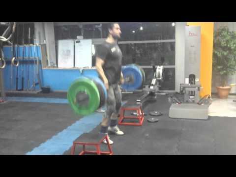 Clean pull, high blocks, 140kg x5