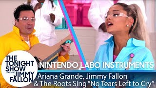 Download Ariana Grande, Jimmy & The Roots Sing ″No Tears Left to Cry″ w/ Nintendo Labo Instruments Video