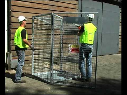 Folding gas cylinder storage cages from 4theworkplace.co.uk