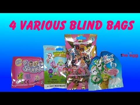 4 various Blind Bags Squinkies, Moshi Monster, Playmobil, YOOHOO opening unboxing toys