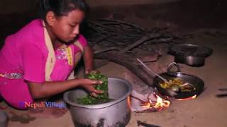 Cutting village green curry recipe, cooking organic and eating together with family