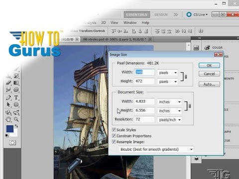 How to Resize Images using the Image Size Tool in Photoshop CS5 CS6 CC Tutorial