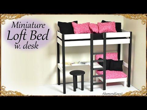 Cute Miniature Loft Bed -  DIY Doll Craft Tutorial