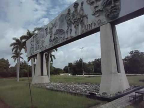 American Tourist Visits Revolution Square, Holguin, Cuba - People to People Tour