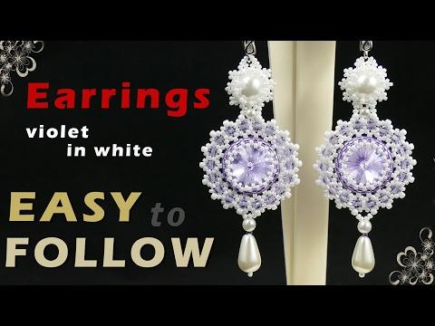 How to make beaded earrings using 14 mm rivoli. Beading tutorial
