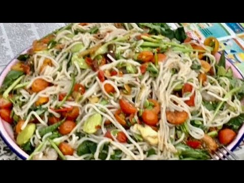 How to make noodle salad & Eat (LAO FOOD) Home Made By Kaysone