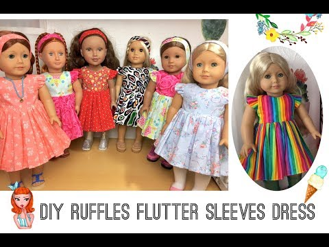 "DIY ruffle flutter sleeve dress tutorials for 18"" dolls AG # free Patterns # sewing project No.26"