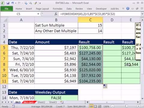 Excel Magic Trick 863: If Sat or Sun, Multiply by 15, Any Other Day Use 14 WEEKDAY & IF Functions