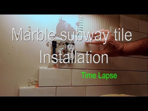 Marble Subway tile kitchen Backsplash installation