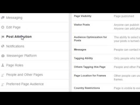 Change post attributions of Facebook page