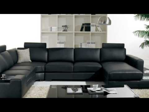 t35 black leather sectional sofa with light polaris contemporary