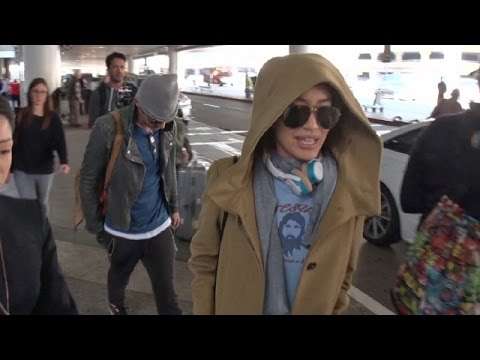 Jonathan Rhys Meyers And Fiance Mara Lane Keep A Low Profile At LAX