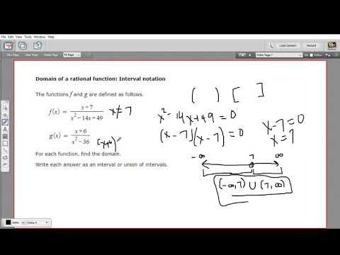Domain of a rational function - interval notation