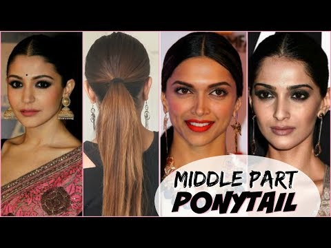 EASY & QUICK MIDDLE PART PONYTAIL HAIRSTYLE! │BOLLYWOOD ACTRESS PONYTAIL HAIR TUTORIAL FOR ANY HAIR