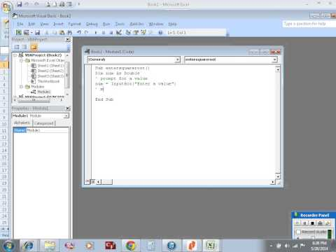 Excel VBA example 26: sub procedure to calculate square root