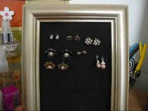 DIY: Picture frame earrings holder (for stud earrings)
