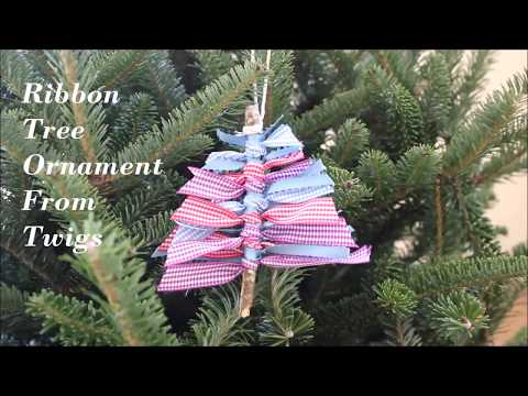 How To Make Christmas Tree Ribbon Ornament On Twigs