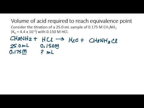 Calculate the volume of acid required to reach equivalence point