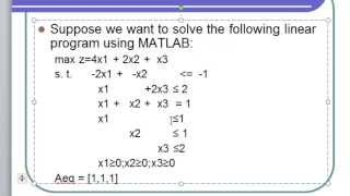 #x202b;كيفية حل مسائل البرمجة الخطية باستخدام برنامج Matlab#x202c;lrm;
