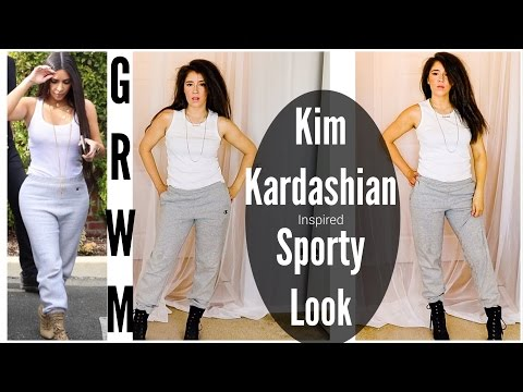 Kim Kardashian Inspired Sporty Sweatpants Look   Makeup, Hair and Outfit