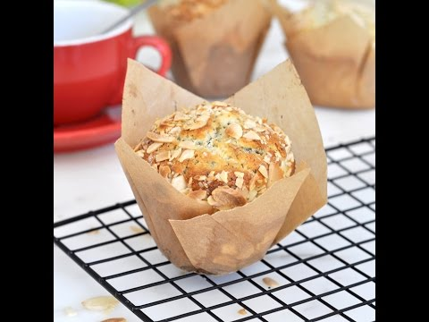 Homemade Bakery-Style Almond-Poppy Seeds Muffins by Cooking with Manuela