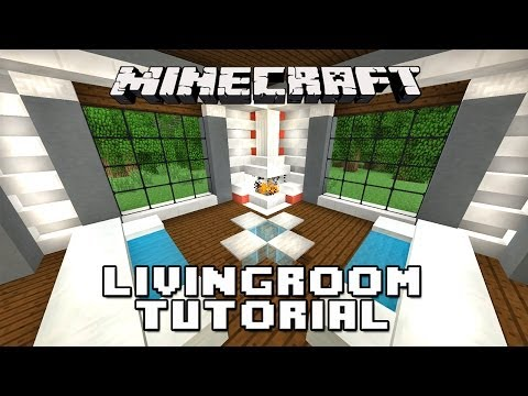 Minecraft Tutorial: How To Make A Living Room, Furniture And Fireplace  (Modern House Build  Ep.17)