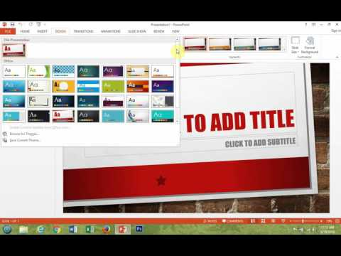 Microsoft PowerPoint 2013 How To Select And Change Your Theme