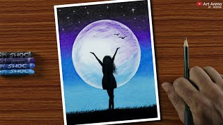 Download Easy Oil Pastel Drawing for Beginners - A Girl in Moonlight - Step by Step Video