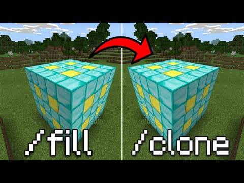 Minecraft PE - How To Use The Fill And Clone Commands!