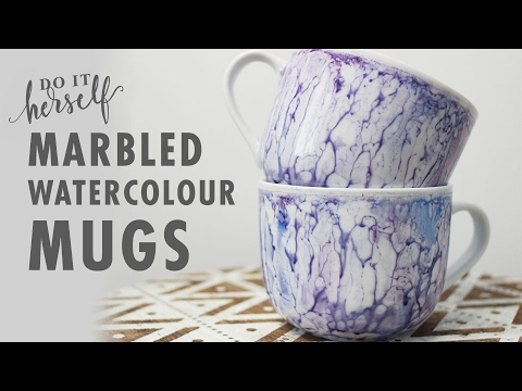 DIY Marble Painted Watercolour Mugs (Easy and Cheap Project Tutorial)