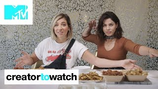 Download Gabbie Hanna & Megan Batoon MUKBANG Chicken Wings 🍗 | MTV Creator To Watch Video