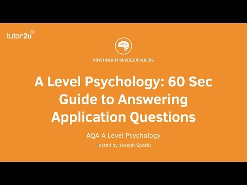 A Level Psychology: 60 Sec Guide to Answering Application Questions