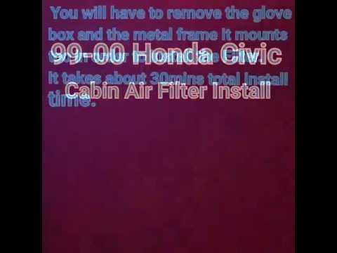 99-00 Honda Civic cabin air filter install