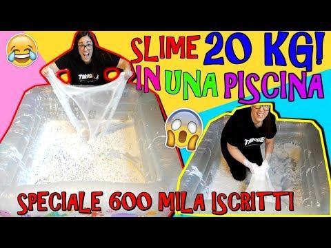 SLIME 20 KILI IN UNA PISCINA! (SLIME PIU' GRANDE DI YOUTUBE ITALIA) SPECIALE 600 MILA ISCRITTI
