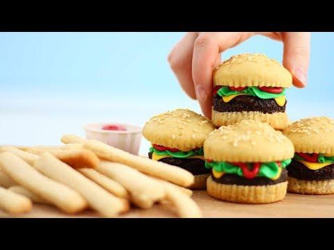 Mini BURGER CAKES & Sugar Cookie FRIES!! YUMMM!