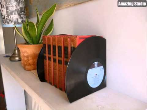 DIY Recycled Old Record Bookend