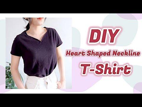 DIY Heart Shaped Neckline T-Shirt / 手作り ファッション * ハートネックTシャツの作り方 / 옷만들기 / Sewing Tutorialㅣmadebyaya