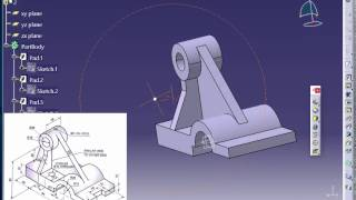 Catia V5 Tutorial|How to Read & Create 3d Models from 2d Drawings P1