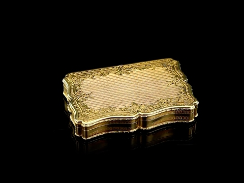 ANTIQUE 19thC FRENCH 18K SOLID GOLD HAND ENGRAVED SNUFF BOX c.1880
