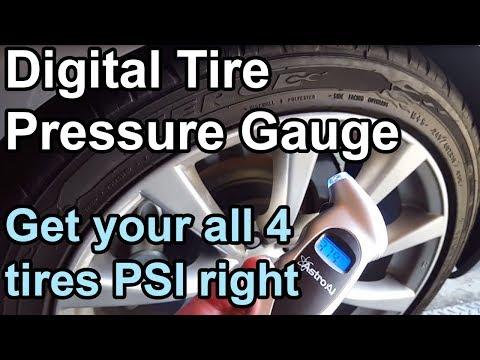 Digital Car Tire Pressure Gauge  - Measure all four tires  in Action