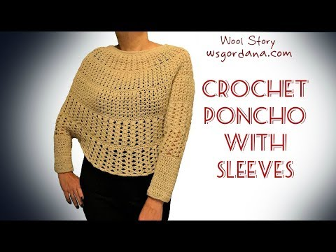 How to Crochet a Poncho With Sleeves (Heklani Pončo)