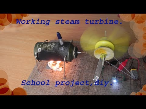 How to make a working  steam turbine model for school projects,diy.