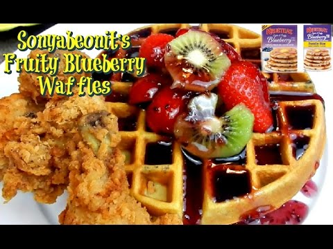 Blueberry Waffles With Crispy Fried Chicken Wings