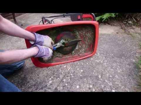 Flymo E300 lawnmower blade sharpening