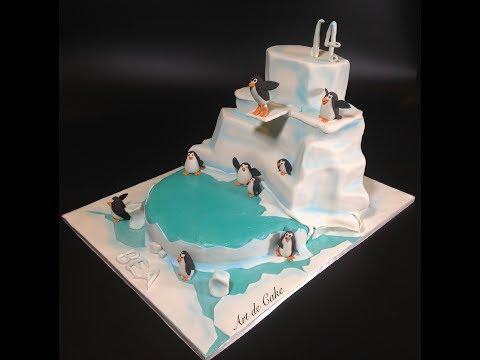 Winter wonderland diving penguin cake by Art de Cake