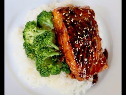 Teriyaki Salmon Topped with Homemade Sauce