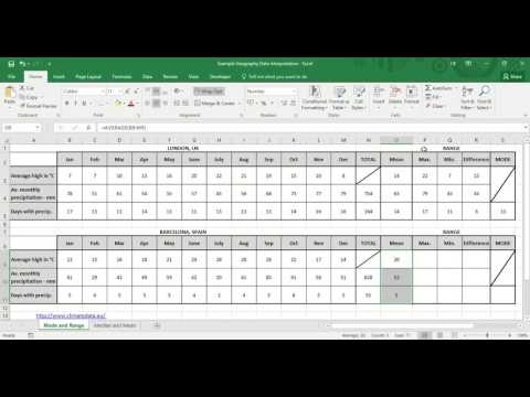 Microsoft Excel: Climate Graph Calculations