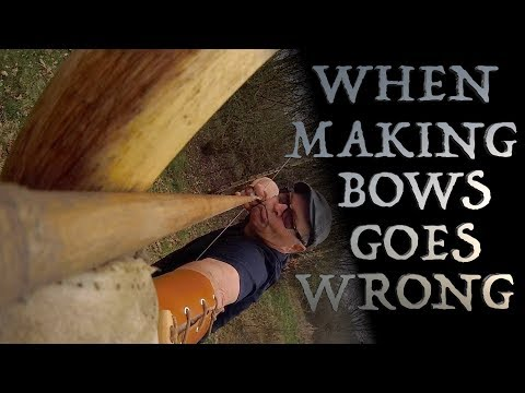 When Making Bows Goes Wrong. Elm Self Longbow & Arrow Cam Comes to Grief
