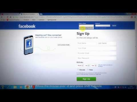 How to delete email id suggestion in facebook login