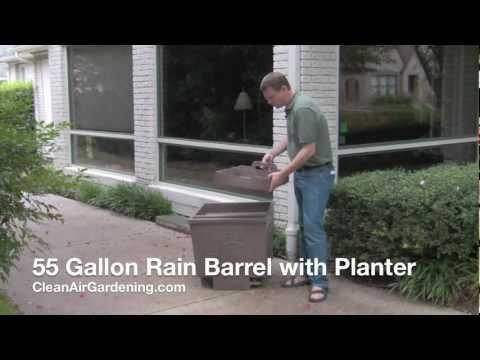 55 Gallon Rain Barrel with Planter: rain barrels